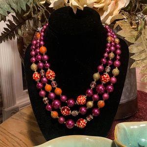 💥5/$25💥 Purple Red Multi Strand Necklace
